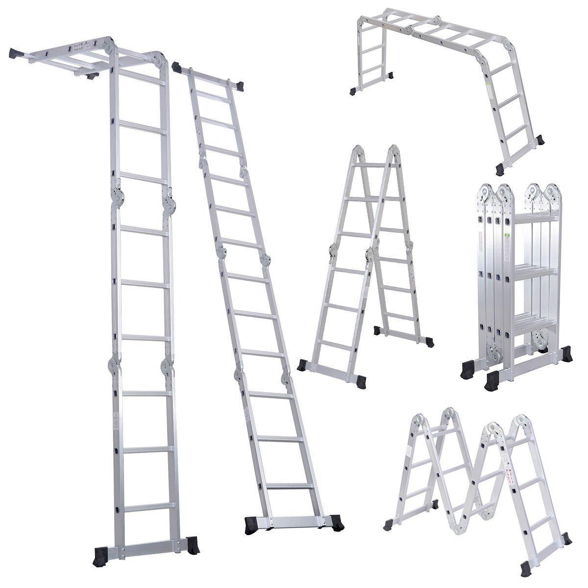 Luisladders 12.5 Feet Aluminum Multi-Purpose Folding Extendable Step Ladder Safety Locking Hinges 330 Pound Capacity Anti-slip Design