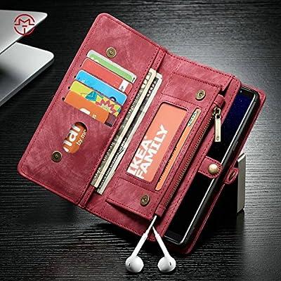 Étuis et housses de téléphone portable, Étui portefeuille CaseMe Samsung Galaxy Note 8 avec coque PC TPU détachable, luxe fait à la main, cuir TRIFOLD ( Couleur : Rouge )