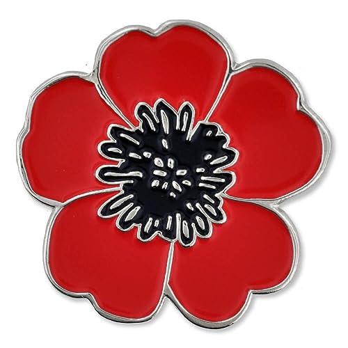 Poppy for veterans day amazon pinmart red black poppy flower remembrance memorial day enamel lapel pin mightylinksfo