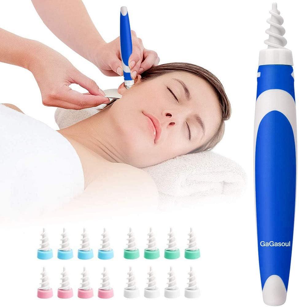 GaGasoul Ohrenreiniger Ohrenschmalz Entferner Blue Ear Cleaning Kit Q-Grips Ohrenschmalz Entferner mit 16 Ersatzk/öpfen 360 Grad Spirale Silikon Ohrenreiniger spirale Ohrenschmalzreiniger