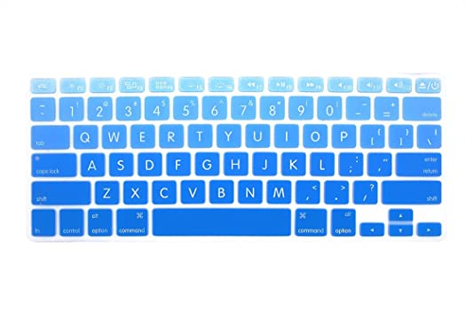 GSuMio Big Font Series Light Blue Gradient Soft Keyboard Cover Silicone  Skin Keyboard Protector for MacBook Pro 13