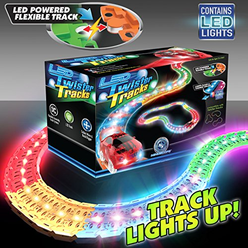 Mindscope LED Laser Twister Tracks 12 Feet of Light Up Flexible Track 1 Light Up Race Car Each Individual Track Piece Contains Lights (Standard Color System)