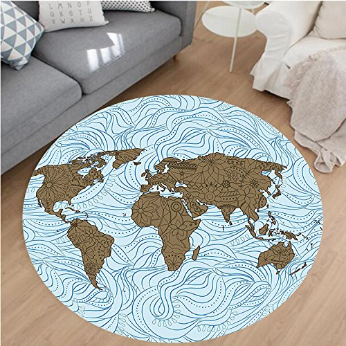 Cocoa Rug Flower (Nalahome Modern Flannel Microfiber Non-Slip Machine Washable Round Area Rug-Map with Wavy Ocean Lines and Flower Themed Continent Icons Artful Image Cocoa Light Blue area rugs Home Decor-Round 36
