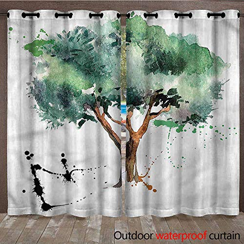 BDDLS Outdoor Cabana Curtain - Stain Proof Awning Shade for Lawn & Garden Thermal Insulated Water Proof Patio Drape with Tab Top, 2 Panel, W108x96L,Multi