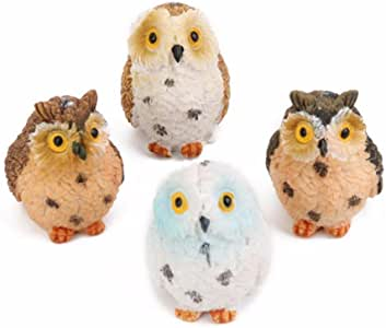 TATEELY Owl Fairy Garden Kits Figurines for Miniatures Ornaments Fairies Gardens House Terrarium Kit Dollhouse Supplies DIY Outdoor Decorations Plant Pot Moss Micro Landscaping Decor