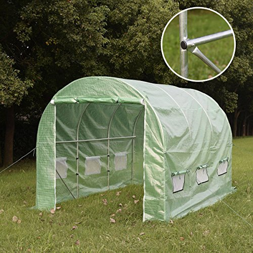 Giantex Heavy Duty Larger Greenhouse Walk in Tunnel Green House Outdoor Garden 12'x7'x7'(12'x7'x7')