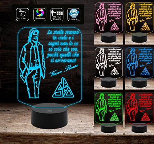 LAMPADA LED 7 colori VASCO ROSSI a batteria+cavo USB+ALIMENTATORE Idea Regalo