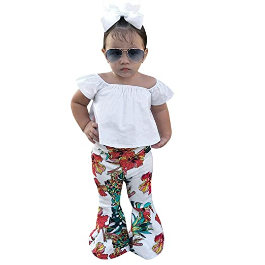 Outfits & Sets Girls' Clothing (sizes 4 & Up) Newborn Kid Baby Girls Floral Off Shoulder Tops Shorts Tutu Outfit Clothes 2019