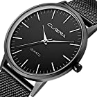 Men's Wrist Watch, Business Casual Analog Quartz Watch with Slim Mesh Band Black Dial by CUENA (Black)