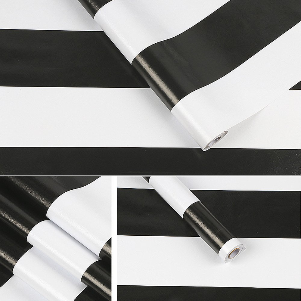 SimpleLife4U Black and White Stripe Self-Adhesive Shelf Liner Contact Paper Refurbish Old Furniture Nightstands Shelves 17.7 Inch By 9.8 Feet