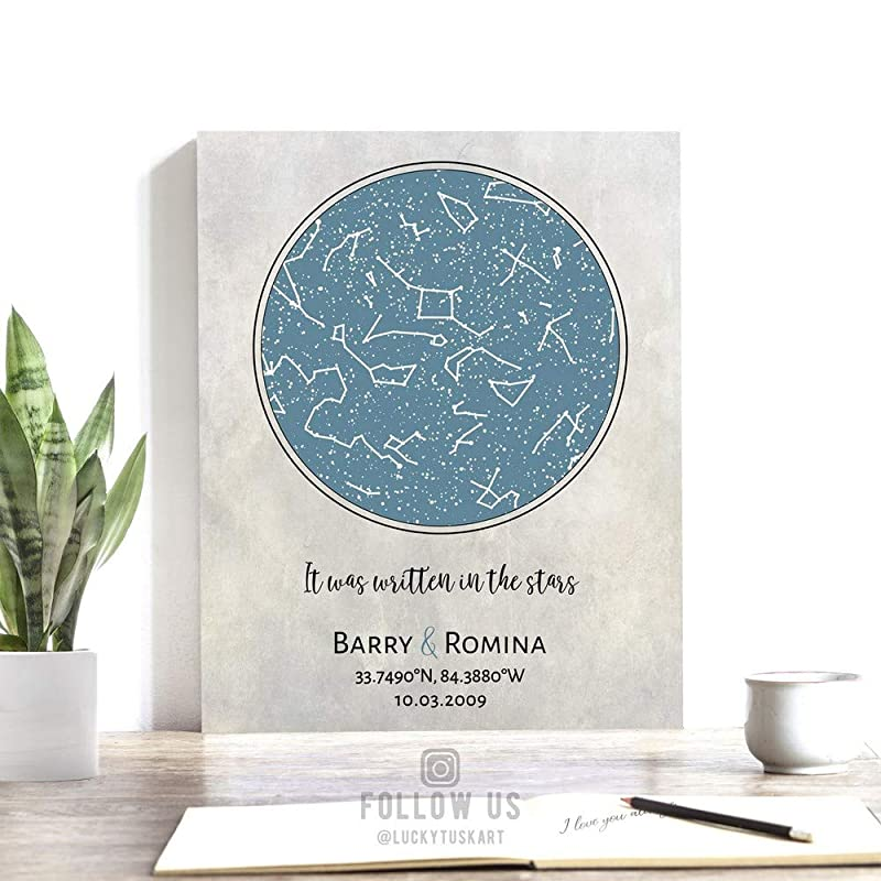 Paper or Canvas 1710 Personalized 1st Anniversary Gift State Map Art Print Connecticut Constellation Star Map Custom Longitude Latitude Tin