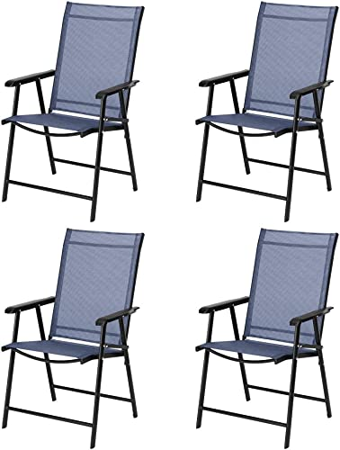 VINGLI Upgraded Set of 4 Folding Chairs with Arms, Portable Patio Chairs for Outdoor Indoor, Sling Back Chairs for Lawn, Pool, Courtyard, Balcony Garden Blue