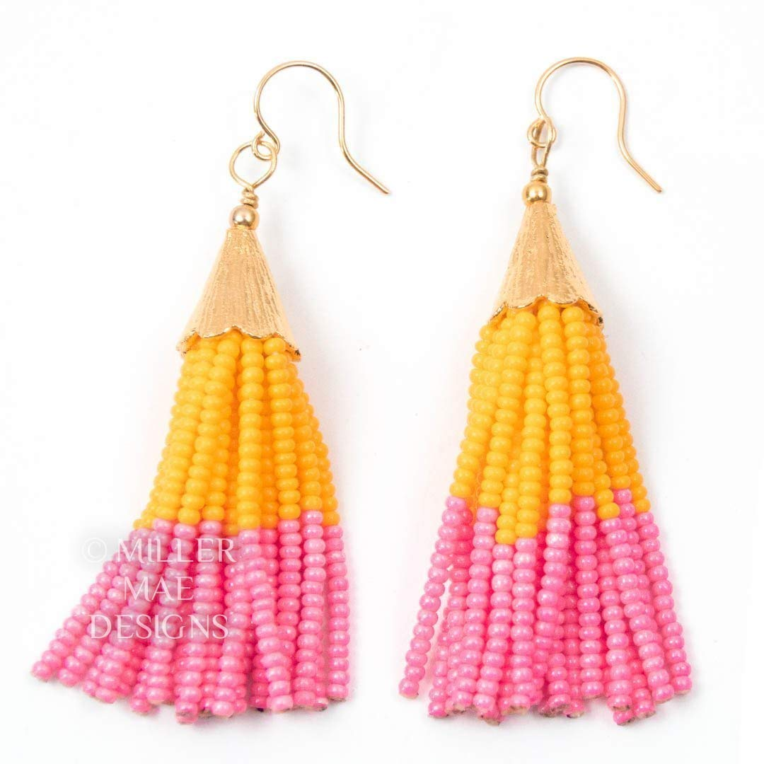 Statement Earrings Pink Tassel Earrings Mini Tassel Earrings Pink Mini Tassel Earrings Gift for Her Tassel Earrings