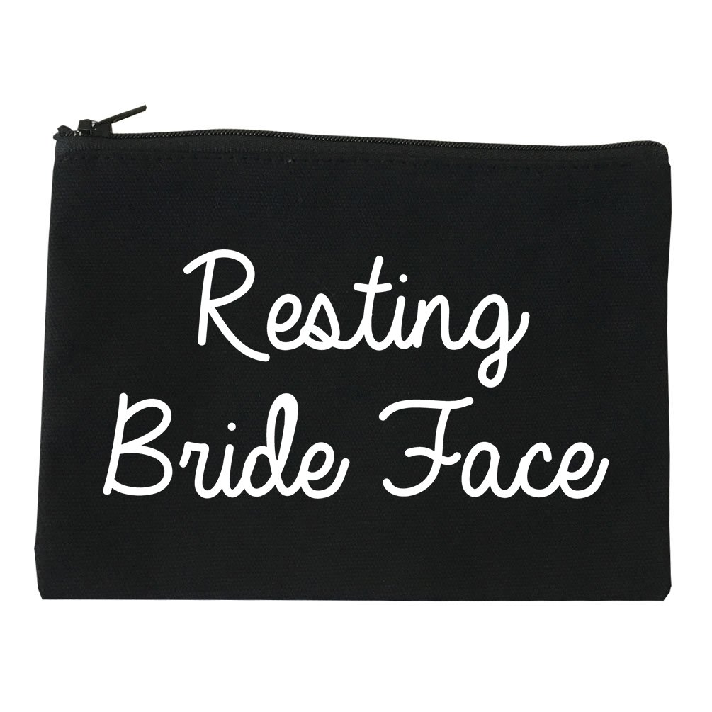 Resting Bride Face Funny Wedding Cosmetic Makeup Bag Black Large