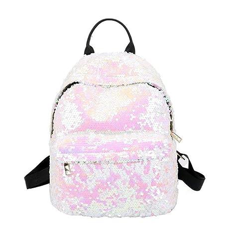 469d506ae2a0 Amazon.com  2019 New Women PU Backpacks Glitter Large Girls Travel Shoulder  Bags Fashion Brand Black School Bag female mochila Shine Backpack (Pink)   ...