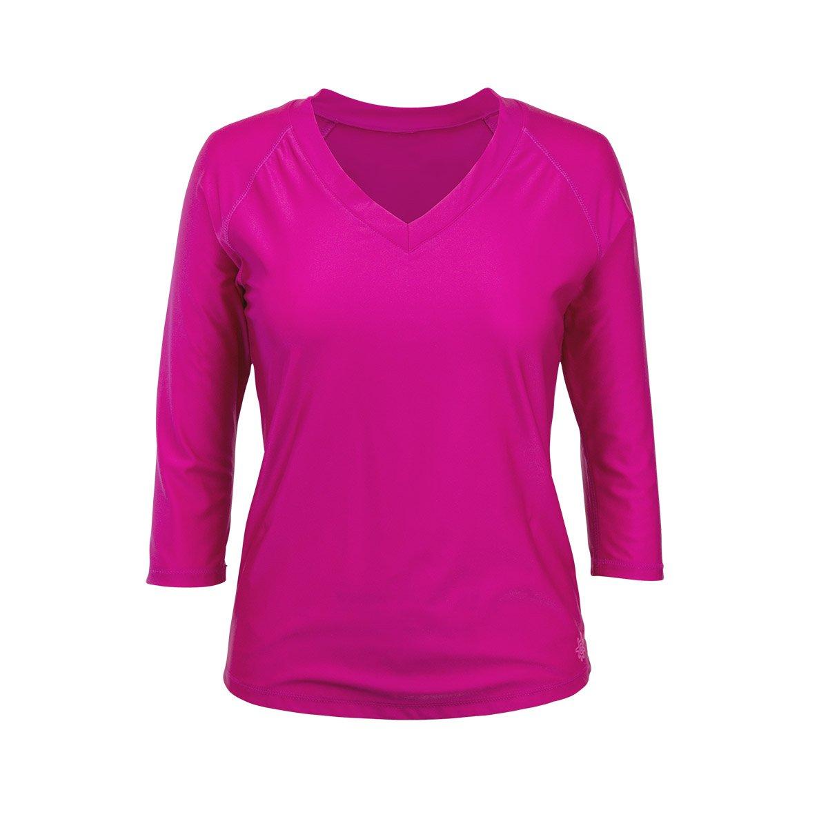 UV SKINZ UPF50+ Womens V Neck Sun & Swim Shirt-Hot Pink-2XL by UV SKINZ