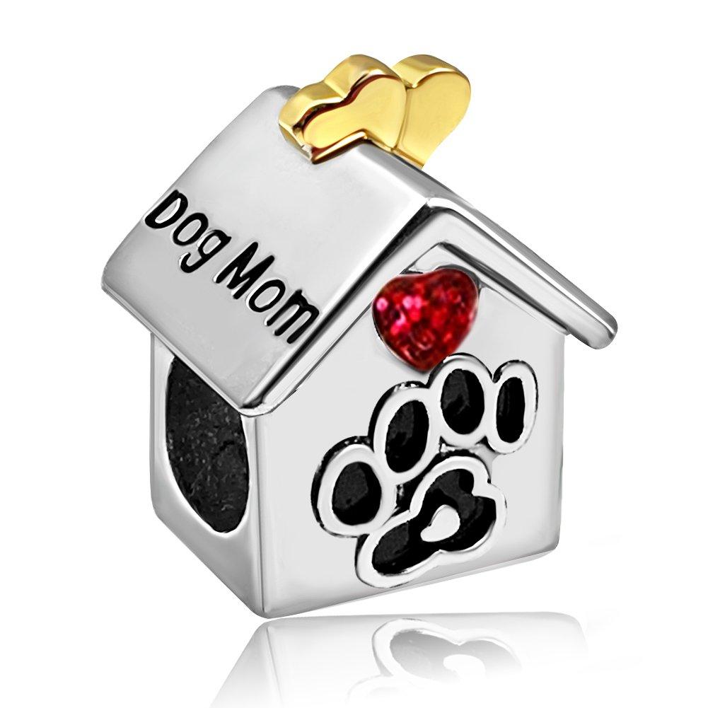 JMQJewelry Dog Mom House Heart love 2 Colors Charms Dangle Beads For Bracelets
