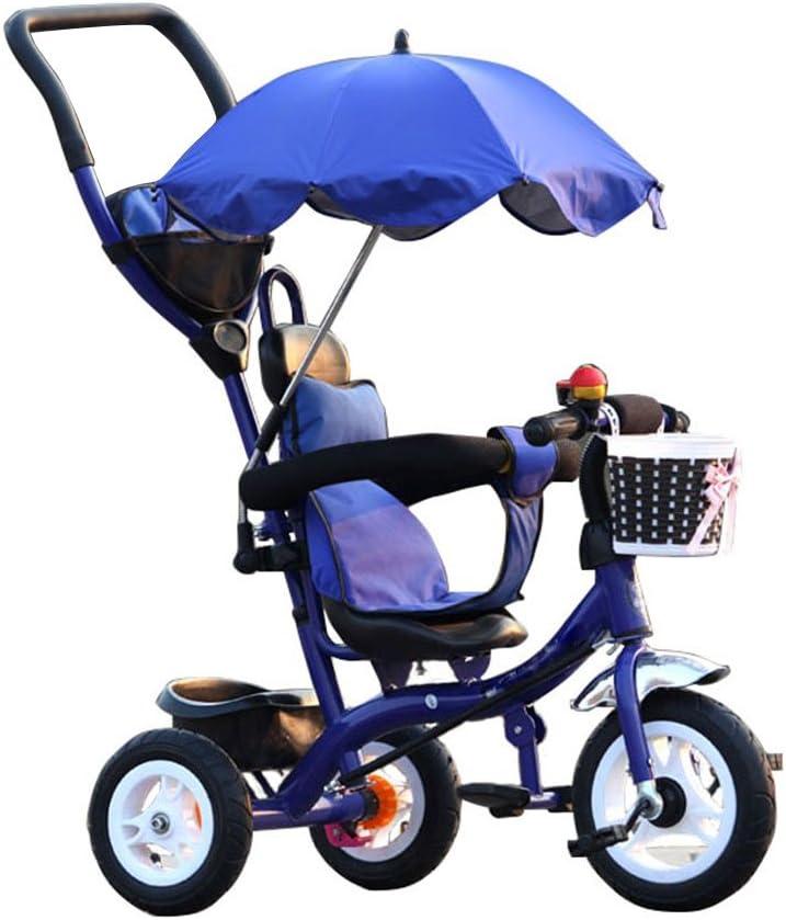 BZEI-BIKE Carritos de Triciclo para Niños Carruajes de bebé Bicicletas para Niños 3 Ruedas, BlueBike (Niño/Niña, 1-3-5 Años) Niños Juguetes
