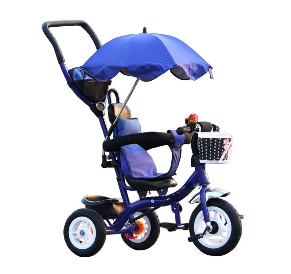 QWM-Baby Kinderfahrräder Kinder Dreiräder Karren Kinderwagen Kinderfahrräder 3 Räder, BlauBike (Junge Mädchen, 1-3-5 Jahre alt) Kindergeschenk-QWM Foam wheel