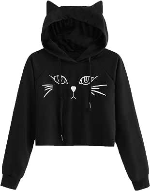 SweatyRocks Women's Short Sleeve Hoodie Crop Top Cat Print Tshirt