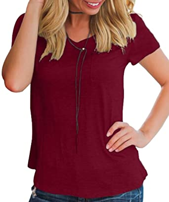 0c8392b2e4b05d M S W Women Short Sleeve Plus Size Solid Color Casual Plain Tee Tops ...