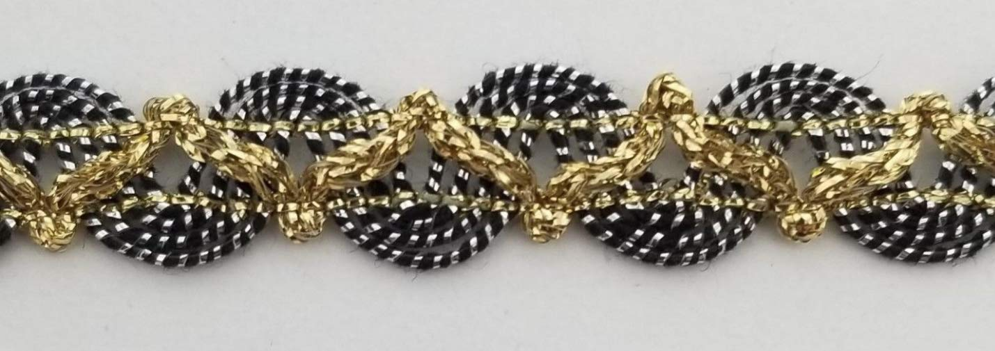 10 Continuous Yards 1//2 Metallic Braid Gimp Trimming Many Color Options! Gold//Black // Silver