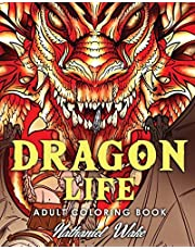 Adult Coloring Book: Dragon Life: Dragons and Dragon Masters in Fantasy Realms 35+ Original Illustrations
