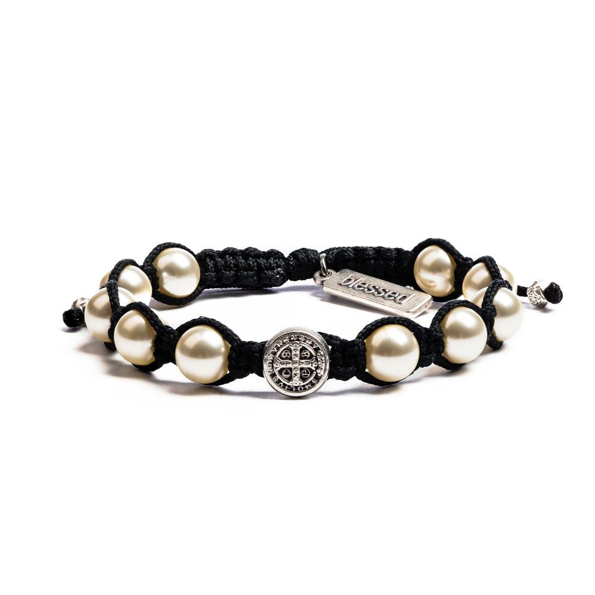 My Saint My Hero Divine Blessing Bracelet - White Pearl, Silver Medal, Black Cording by My Saint My Hero