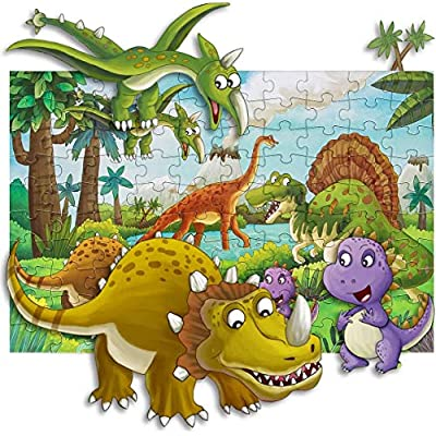 Puzzles for Kids Ages 4-8, Aitey 100 Piece Dinosaur Jigsaw Puzzles for Toddler Preschool Educational Learning Toys Puzzles for Boys and Girls: Toys & Games