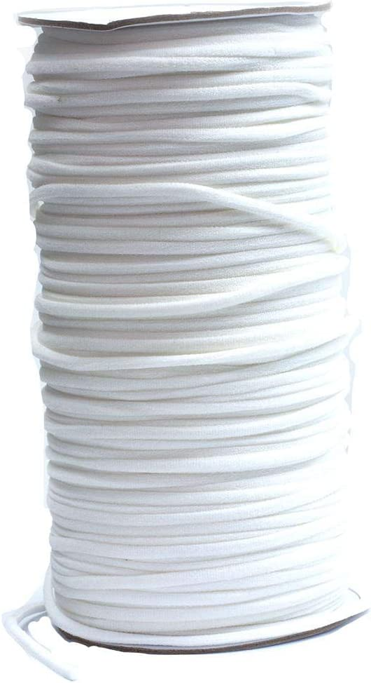 Cord/ón de goma para manualidades plano de 5 mm. listo para enviar 100m Rolle Blanco banda el/ástica