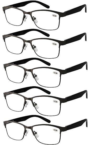 480e83cbba Eyecedar 5-Pack Reading Glasses Men Metal Frame Spring Hinges Rectangle  Style Stainless Steel Material