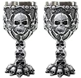 Set of 2 Silver Skulls & Bones Wine Goblet Stainless Medieval Collectible Home Decor Gift Water Cup Halloween Horror Film Theme Party Ornamental (2G16598) ~ We Pay Your Sales Tax
