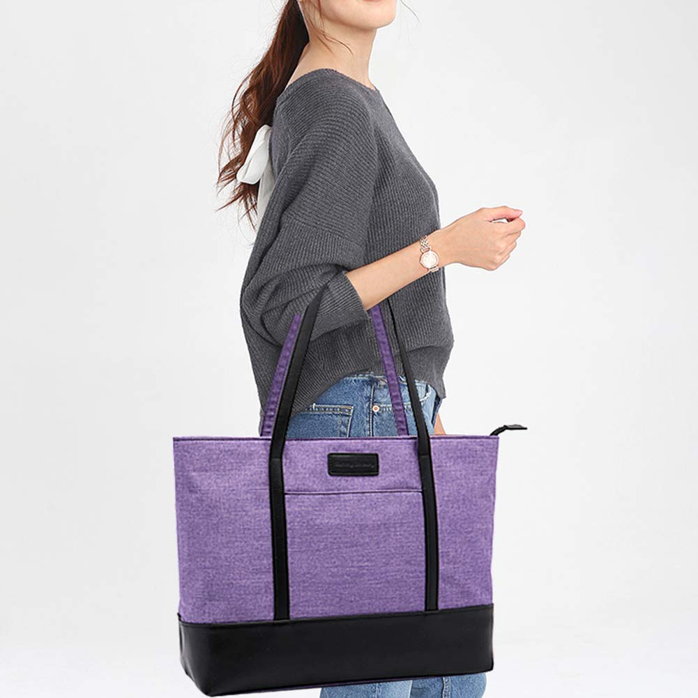 Laptop Tote Bag,Fits 15.6 Inch Laptop,Womens Lightweight Water Resistant Nylon Tote Bag Shoulder Bag Ideal for Her(C-Purple) by Sunny Snowy (Image #7)