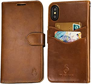 Mens iPhone 6 Plus Wallet Case,iPhone 6s Plus Wallet Phone Cover Folio Flip Cell Case Leather Case with Detachable PC Box Case Cell Phone Cover Bag with Card Slots,Cash Pocket,Magnet Closure,Brown