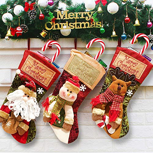 3 Pack Christmas Stocking Decoration Set - Xmas Fireplace Hanging Decor 3D Plush Santa Snowman Ornament with Fur Cuff Xmas Stocking Party Favor Supplies Gifts Xmas Tree Fireplace Stairs Holiday Decor (Stocking Set Of 4 Christmas)