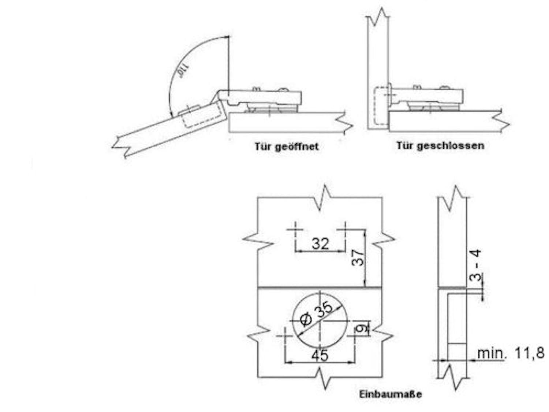 SO-TECH® Topfband T45 Clip 110° Eckanschlag Automatikscharnier mit ...
