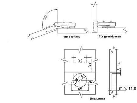 Juego de 10 x SO-TECH® Clip Bisagra 110° Bisagra Automatic con Amortiguador y Cierre Automatic: Amazon.es: Bricolaje y herramientas