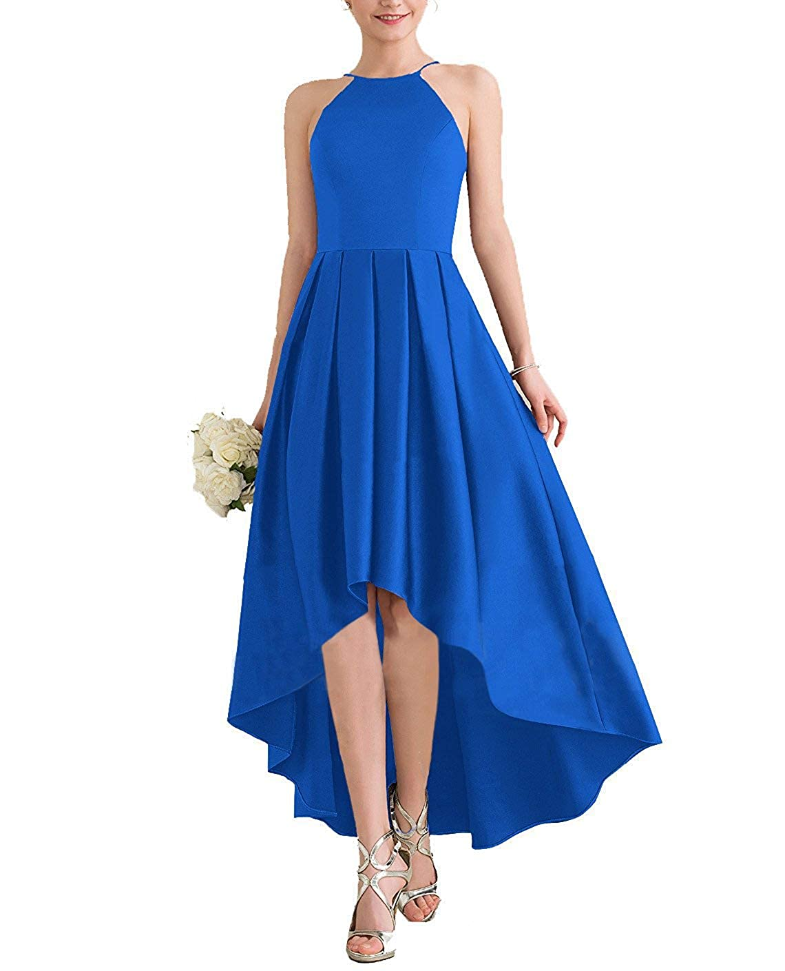 bluee JINGDRESS Womens High Low Satin Bridesmaid Dress High Neck Sleeveless A Line Pleated Prom Gowns