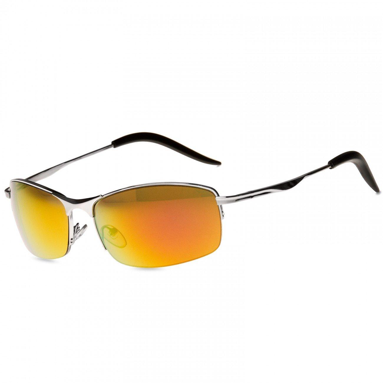 CASPAR SG010 Unisex Matrix Sport Sonnenbrille, Farbe:schwarz / silber verspiegelt