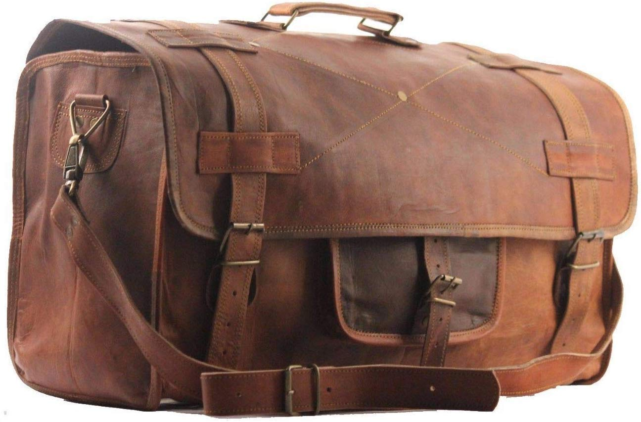 Vintage Genuine Weekend Overnight New Bag Leather Duffel Travel Men Luggage Gym