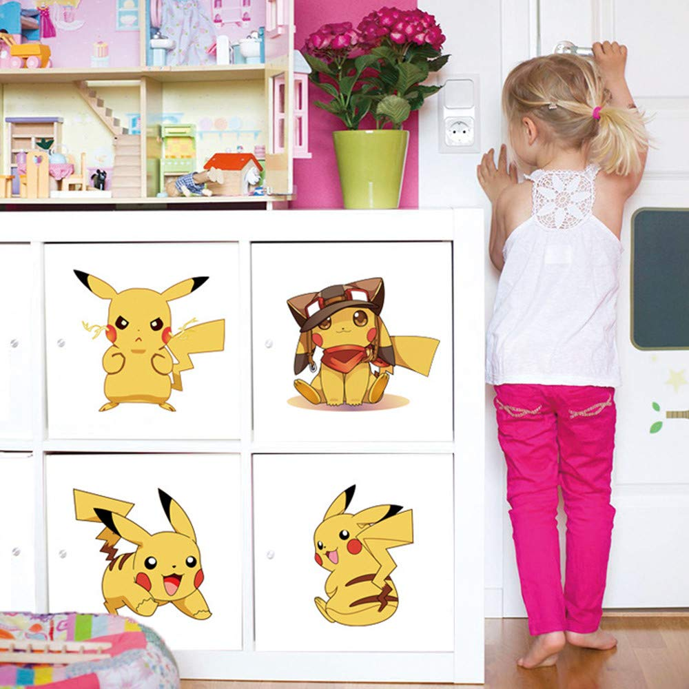 ufengke Wandtattoo Pok/émon Pikachu Wandsticker Wandaufkleber Wanddeko f/ür Kinderzimmer Babyzimmer