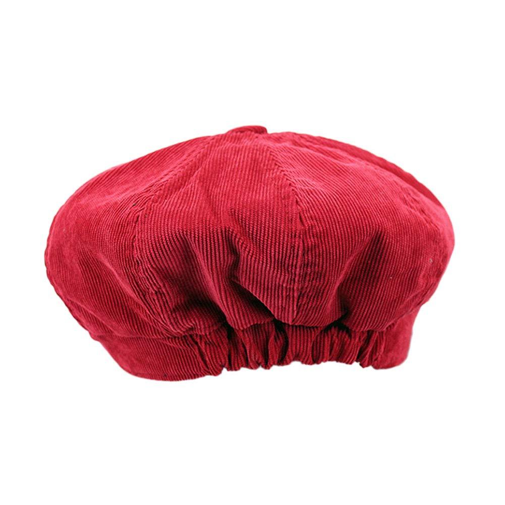 ZLSLZ Womens Girls Solid Cute Corduroy Ivy Newsboy Cabbie Gatsby Beret Painter Hat Cap