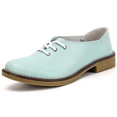 3d1010647a5 ALEADER Women s Lace-up Flat Shoes Comfort Leather Ladies Ballet Flats Blue 3.5  UK
