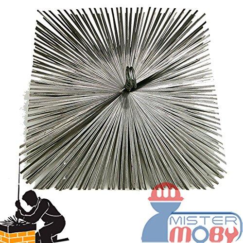 Mistermoby Scovolo Professionale Quadro in Acciaio Pulizia Canna Fumaria Camino Dimensioni 30X30 Centimetri