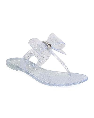 826de90eae3c Wild Diva EE87 Women Glitter Jelly Bow T-Strap Slip On Thong Sandal - Clear
