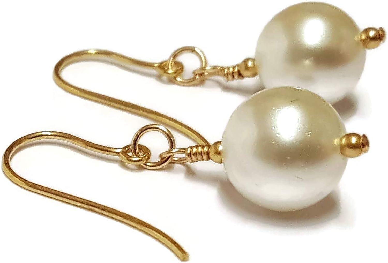 Pendientes de perlas blancas, perlas de 10 mm, pendientes de oro de 9 quilates, cuentas de oro, joyas de piedras preciosas de amor