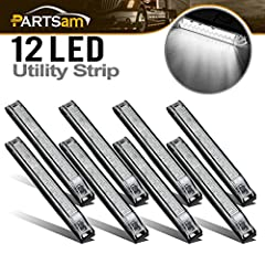 "(8) 6"" Led Utility Strip Bar Led Marker Clearance Light-- Clear/WhiteFeatures: 1.Led Qty: 12LED2.Voltage: 12V Low Current Draw3.Surface Mount Design ,Great for Lighting / Decoration / Functional etc. ,Universal For 12V Vehicles esp. the Boats..."