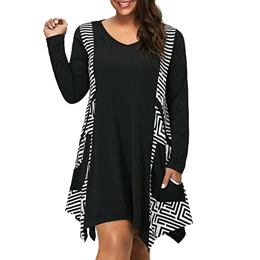 5597ad249c0 Image Unavailable. Image not available for. Color  Womens Dresses Clearance  Sale! Women s Plus Size V-Neck Long Sleeve Asymmetrical ...