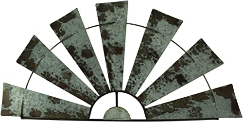 Special T Imports Galvanized Metal Half-Windmill Wall Sculpture 36