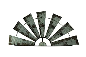"Special T Imports Galvanized Metal Half-Windmill Wall Sculpture (36"")"
